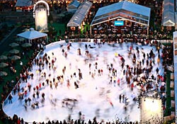Ice skating at The Pond in Bryant Park