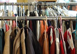 Clothing rack in a thrift store