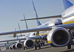 Ryanair planes ready for takeoff