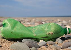 Plastic bottle trash on beach