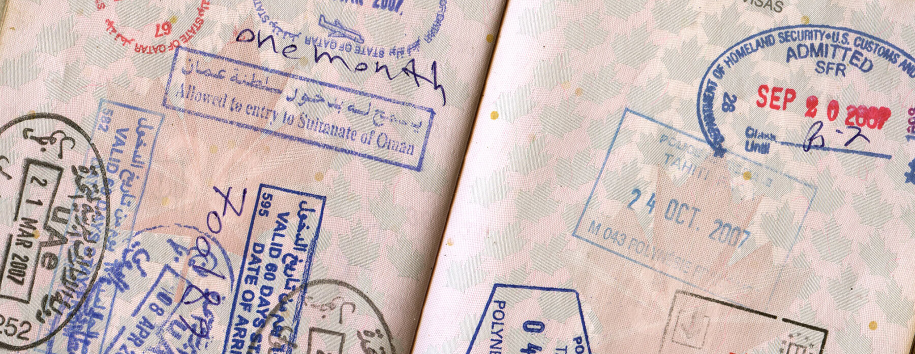 Border control stamps in passport