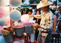 Candyfloss seller at Coyoacan Market, Mexico City
