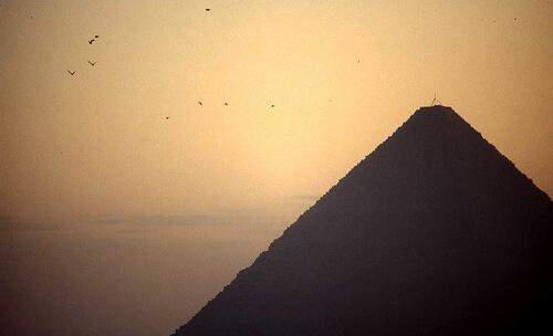 Pyramid at Giza at sunrise