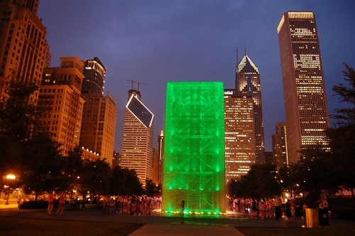 Millennium Park in Chicago at night