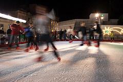 Ice skating at night