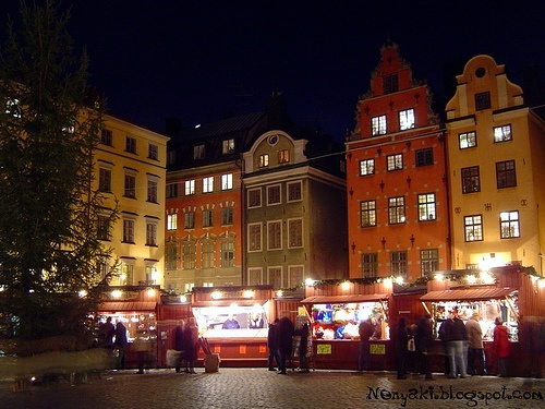 Christmas market at night in Gamla Stan, Stockholm