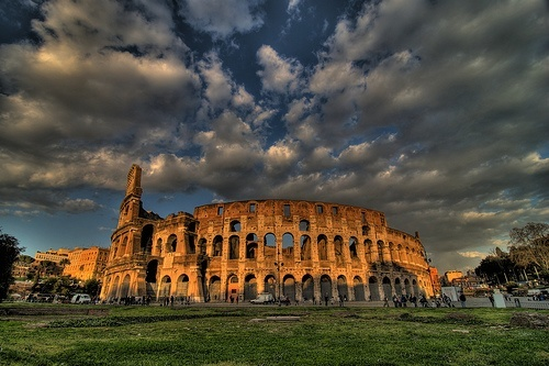 The Colosseum in Rome under a stormy sky - photo by skinnydiver on flickr
