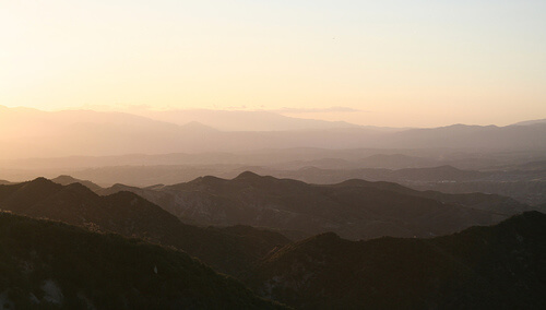 View from Sand Canyon over the Angeles National Forest in California