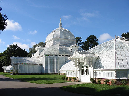 The Conservatory of Flowers building in Golden Gate Park, San Francisco