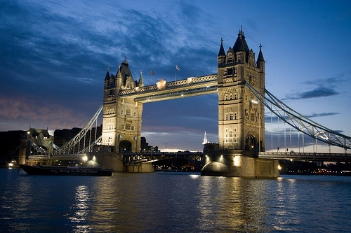 Early evening photo of Tower Bridge, London