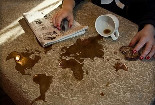 Photoshop of coffee as a map
