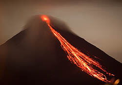 Pyroclastic avalanche of lava from Arenal volcano
