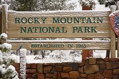 Rocky Mountain National Park sign, photo by Steve Wampler