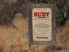 Sign at the entrance to Ruby, Arizona