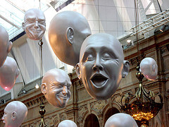 Hanging heads at the Kelvingrove Museum