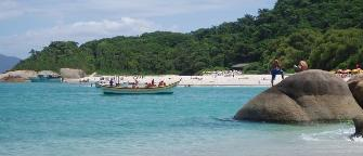 A beach on Santa Catarina Island in Brazil near Florianopolis