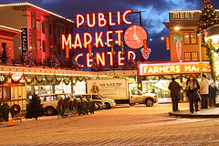 Pike Place Market, Seattle, in the evening
