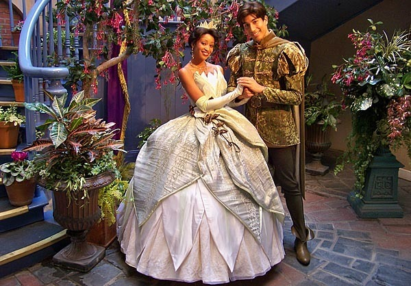 Tiana and Naveen at the Princess and the Frog Meet-And-Greet Area at the Court of Angels, Disneyland