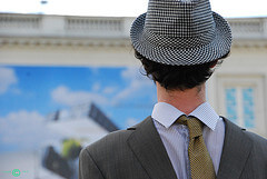 Actor portraying Renee Magritte art