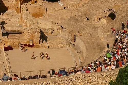 Gladiator games reenactment in the Tarragona amphitheater, Spain