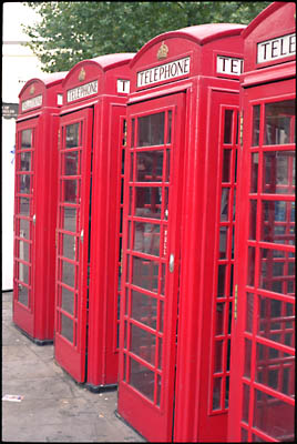 Classic London phone booths.