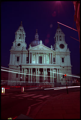 St Paul's Cathedral with lightstreaks from buses. Taken at night.