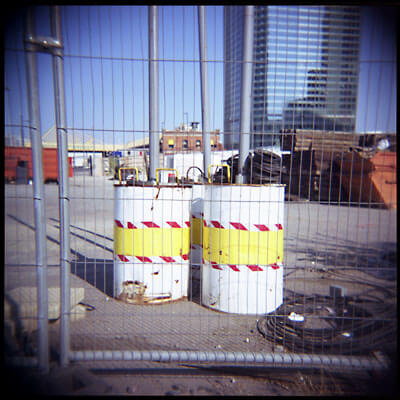 Oil drums in the London Docklands.