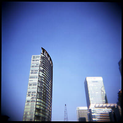 London Docklands skyscrapers. Shot with Holga 120S.