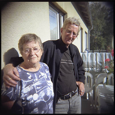 My Grandma and uncle. Taken on a Holga. Sveg, Sweden.
