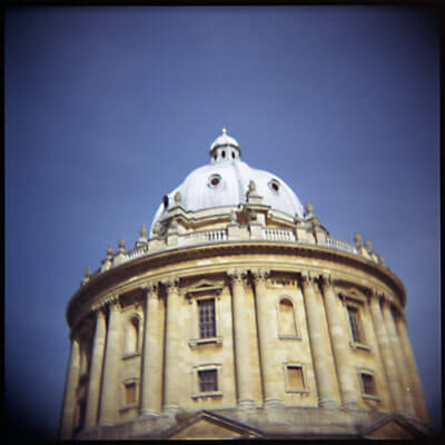The top of this tower / building in Oxford looked really photogenic against the blue sky. Shot with Holga.