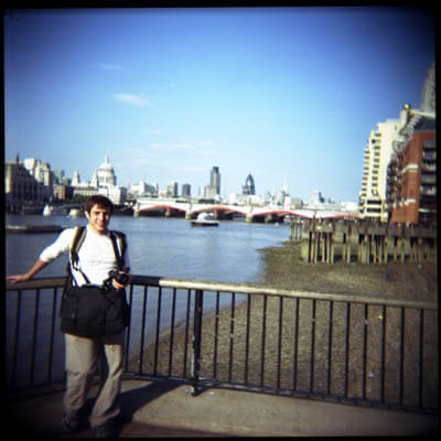 My friend Ari from New York came to visit. Holga picture taken on London's Southbank.