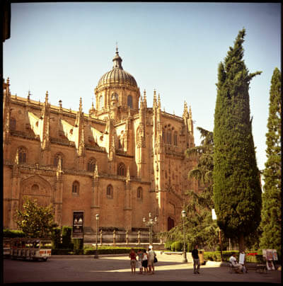 The cathedral in Salamanca, Spain, shot with my Lubitel 166 in July 2006.