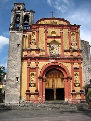 The front of the church in downtown Cuernavaca, Morelos, Mexico.