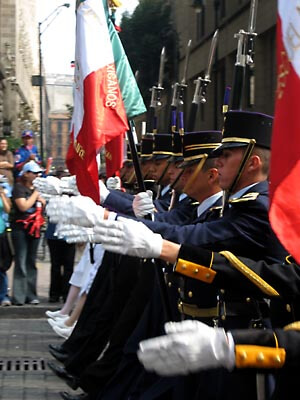 Army parade on Mexico's Independence Day.
