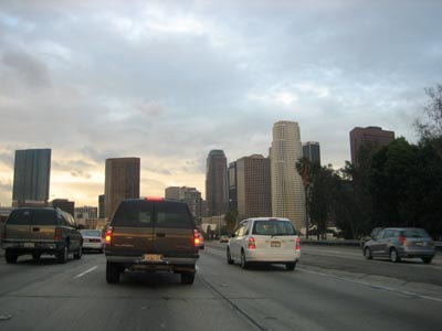 Traveling down the freeway in Los Angeles.