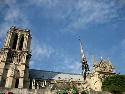 An unusual view of Notre Dame from the Seine. Paris.