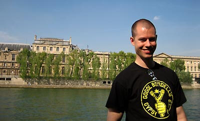 Jack on a sunny April day by the Seine, Paris.