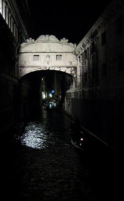 The Bridge of Sighs during a Venice night. This was a very quiet evening in Venice, and the romanticism of days gone by came to us easily.