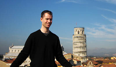 Me in front of the Leaning Tower of Pisa.