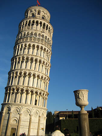 Simple photo of Leaning Tower of Pisa against a blue sky.