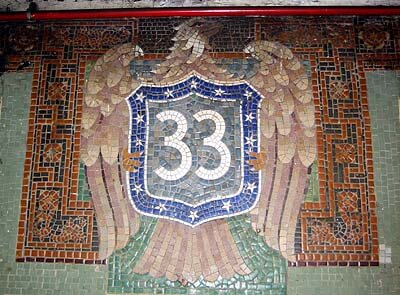 A mosaic showing the station number in the New York subway.