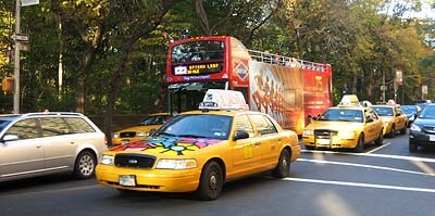 Street scene with cabs in New York