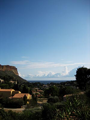 Walking into Cassis, Provence, from the train station, we saw this view over the village to the Mediterranean Sea