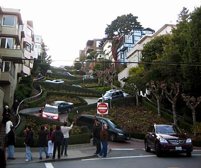 Lombard Street in San Francisco seen from the bottom.
