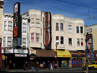 In North Beach, near City Lights Bookshop, there's this row of San Fran's seedy shops
