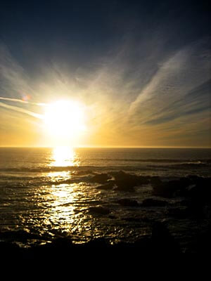 Stunning sunset overlooking the Pacific Ocean from Pigeon Point Lighthouse near Santa Cruz