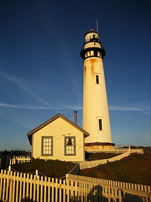 The famous Pigeon Point Lighthouse near Santa Cruz in California