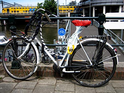 One of the many thousands of bikes found everywhere in Amsterdam.