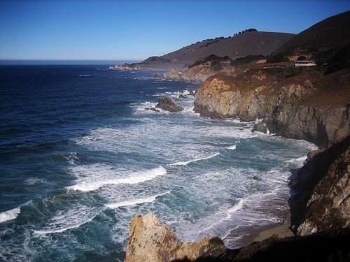 Waves rolling in at the Big Sur coastline, California.