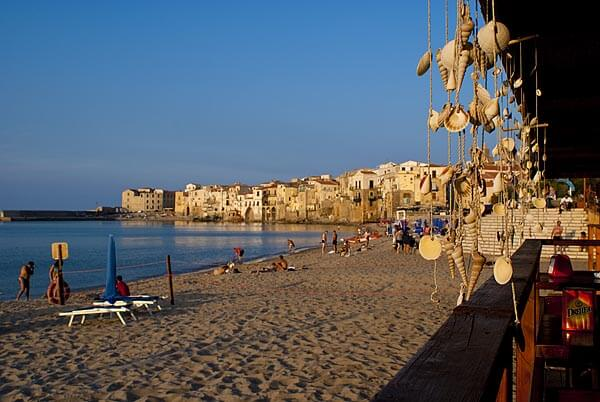 The beach in pretty Cefalu right before sunset.